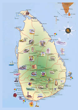 Detailed travel map of Sri Lanka.