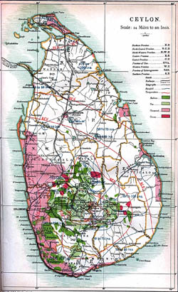 Large detailed old map of Ceylon (Sri Lanka) - 1914.