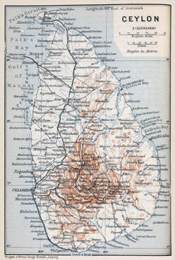 Large detailed old map of Sri Lanka with roads, cities and relief - 1914.