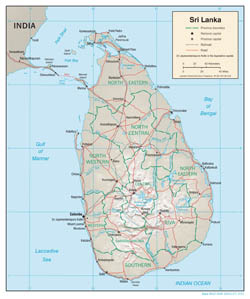 Large detailed political and administrative map of Sri Lanka with relief, roads and major cities - 2001.
