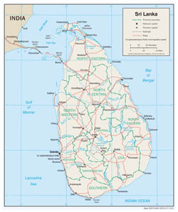 Large detailed political and administrative map of Sri Lanka with roads and major cities - 2001.