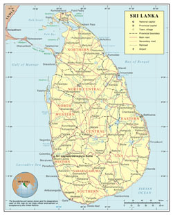 Large detailed political and administrative map of Sri Lanka with roads, cities and airports.