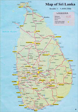 Large detailed road map of Sri Lanka with cities.