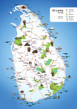 Large detailed tourist map of Sri Lanka.