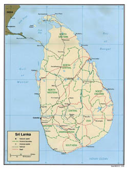 Large political and administrative map of Sri Lanka - 2000.