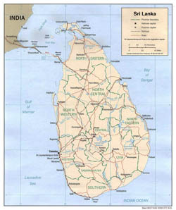 Large political and administrative map of Sri Lanka - 2001.