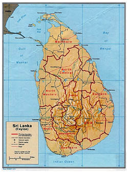 Large political and administrative map of Sri Lanka with relief - 1974.