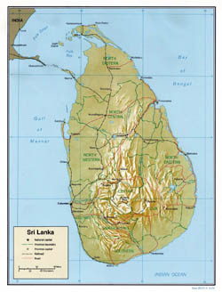 Large political and administrative map of Sri Lanka with relief - 2000.