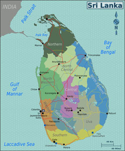 Large regions map of Sri Lanka.