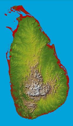 Large relief map of Sri Lanka.