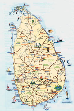 Tourist map of Sri Lanka.
