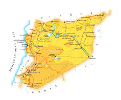 Detailed elevation map of Syria with roads, cities and airports.