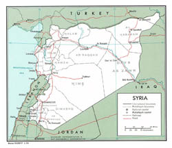 Detailed political and administrative map of Syria - 1976.
