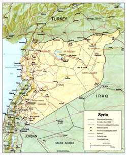 Detailed political and administrative map of Syria with relief, roads and major cities - 1990.