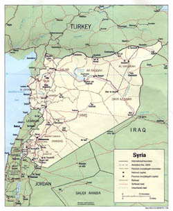 Detailed political and administrative map of Syria with roads and major cities - 1990.