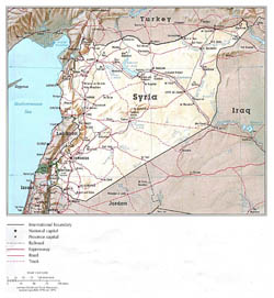 Detailed political map of Syria with relief, roads and major cities.