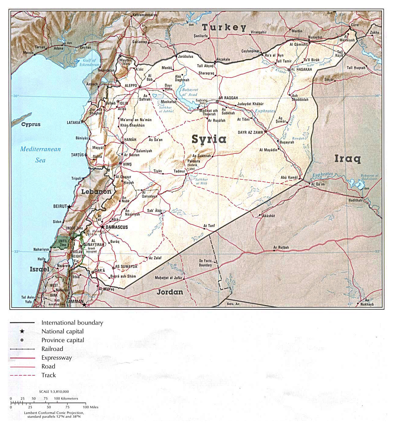 Maps of syria detailed map of syria in english tourist map of detailed political map of syria with relief roads and major cities gumiabroncs Images