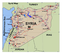 Detailed tourist map of Syria.