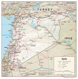 Large detailed political and administrative map of Syria with relief, roads and cities - 2007.