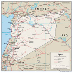 Large detailed political and administrative map of Syria with roads and cities - 2007.