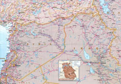 Large map of Syria with relief, roads and airports.