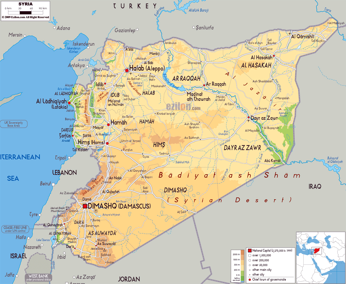 large physical map of syria with roads cities and airports
