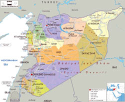 Large political and administrative map of Syria with roads, cities and airports.