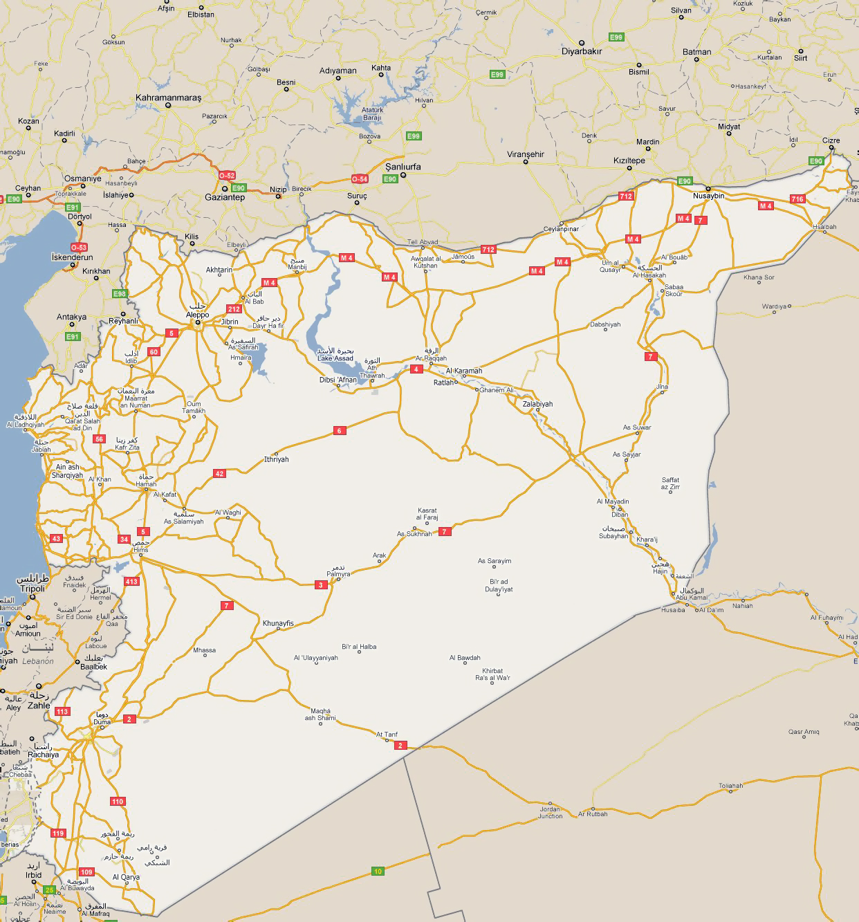 large road map of syria with all cities
