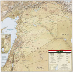 Large scale political map of Syria with relief, roads, cities, airports and other marks - 2004.