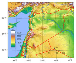 Large topographical map of Syria.