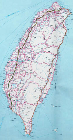 Detailed map of Taiwan with roads and cities.