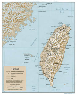 Detailed political and administrative map of Taiwan with relief, roads and major cities - 1992.