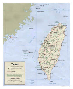 Detailed political and administrative map of Taiwan with roads and major cities - 1992.