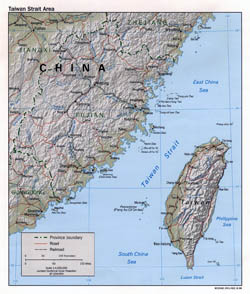 Detailed political map of Taiwan with relief - 1998.