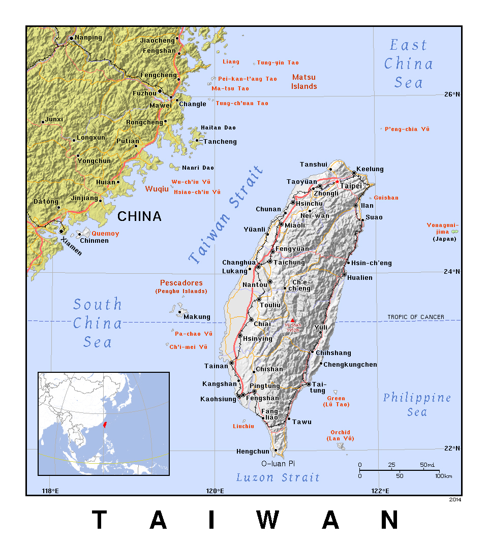 detailed political map of taiwan with relief