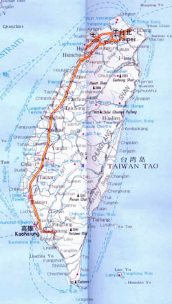 Detailed road map of Taiwan with cities.