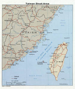 Large Taiwan Strait Area map - 1976.