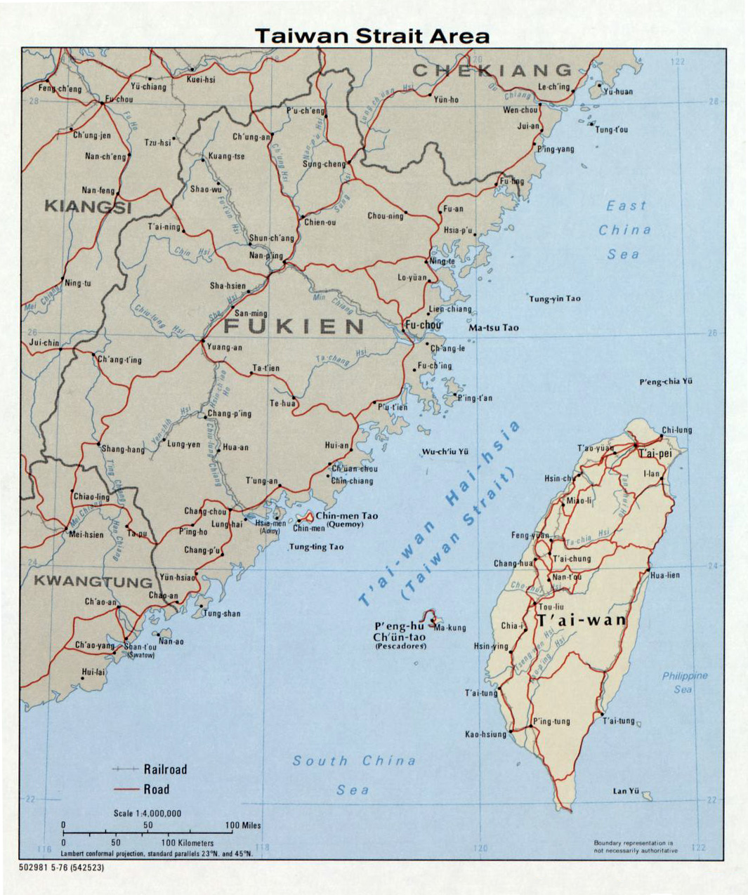 Maps of taiwan detailed map of taiwan in english tourist map of large taiwan strait area map 1976 gumiabroncs Choice Image