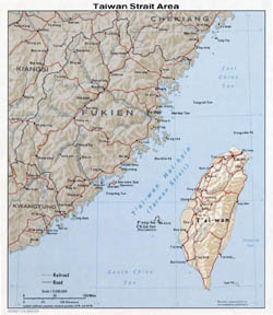 Large Taiwan Strait Area map with relief - 1976.
