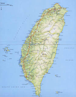 Large detailed road map of Taiwan with all cities.