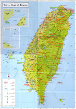 Large detailed travel map of Taiwan.