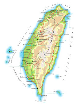 Large elevation map of Taiwan with roads, cities and airports.