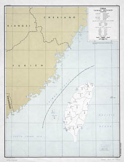 Large old map of China (Taiwan province) - 1949.