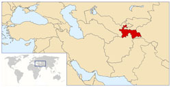 Detailed location map of Tajikistan.