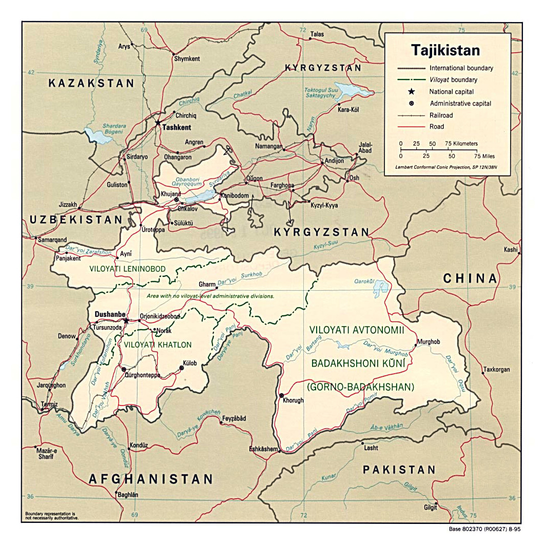 Maps of Tajikistan Detailed map of Tajikistan in English Tourist