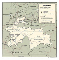 Detailed political and administrative map of Tajikistan with major cities - 1992.