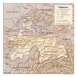 Detailed political and administrative map of Tajikistan with relief - 1995.