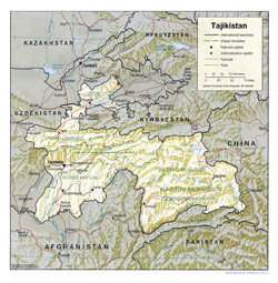 Detailed political and administrative map of Tajikistan with relief, roads and major cities - 2001.