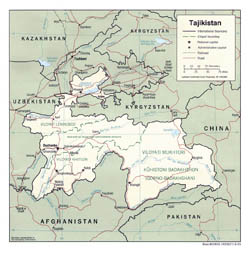 Detailed political and administrative map of Tajikistan with roads and major cities - 2001.