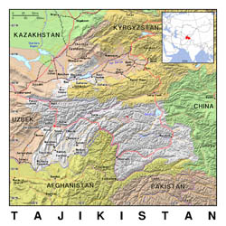 Detailed political map of Tajikistan with relief.